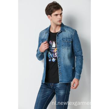 Heren katoenen denim shirt